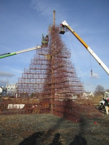 From http://talbotspy.org/tilghman-island-holiday-celebration-features-lighting-of-42-ft-crab-pot-tree/